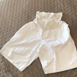 Maternity white shorts.